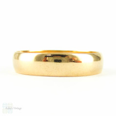 Antique 22 Carat Gold Wedding Ring, Victorian Mens or Womens Wedding Band with Birmingham Hallmarks 1880s. Size O / 7.25.