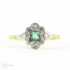 Art Deco Emerald & Diamond Engagement Ring, Square Cut Emerald in Diamond & Engraved Setting. Circa 1920s, 18ct & Platinum.