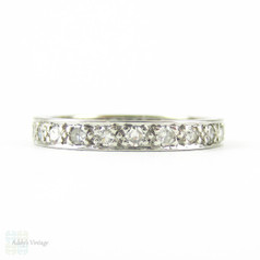 Art Deco Diamond Eternity Ring, Platinum Full Hoop Diamond Wedding Ring with Engraved Sides. 0.44 ctw, Size K / 5.25.