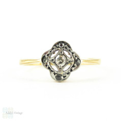 Antique Diamond Cluster Ring, Floral Shaped Rose Cut Diamond Ring. Circa 1900, 18ct & Platinum.
