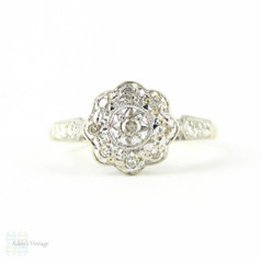 Vintage Diamond Engagement Ring, Daisy Flower Shape Cluster Ring with Engraved Setting. Circa 1960s.