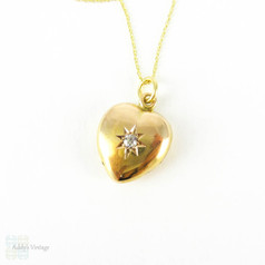 Victorian 15ct Puffed Heart Pendant with Old Cut Diamond, Circa 1890s.