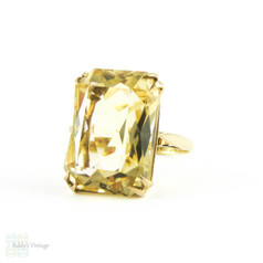 Huge Vintage Citrine Dinner Ring, Large Rectangle Shape Yellow Citrine in Double Claw Setting.  9ct Yellow Gold, 1990s.