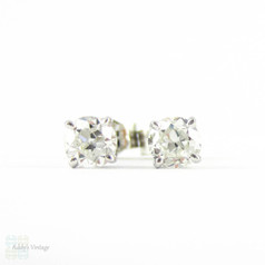 Old European Diamond Stud Earrings. Antique 0.50 ctw Old  Cut Diamonds in Classic 18ct White Gold Mountings.