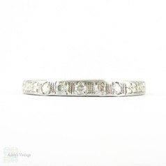Platinum Diamond Wedding Ring, Art Deco Five Stone Diamond Ring, Square Setting Engraved Floral Design. Circa 1930s.