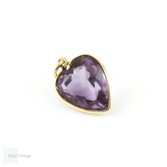 Antique Amethyst Heart Pendant, Large 9 Carat Gold Edwardian Bezel Set Love Heart, Circa 1900.