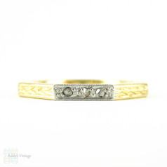 Vintage Octagonal Two-Tone 18ct Wedding Ring, 3 Diamonds with Wheat Design and Engraved Sides. Circa 1940s, Size N / 6.75.