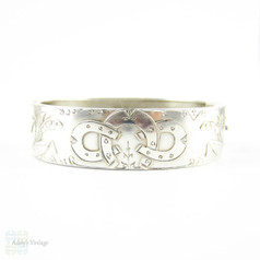 Antique Victorian Sterling Silver Bracelet, Horseshoe & Lily Of The Valley Engraved Bangle. Full English Hallmarks, 1880s.