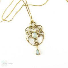 Edwardian Style Opal Filigree Pendant in 9 Carat Yellow Gold. Vintage Pear Drop Pendant on 9k Chain.
