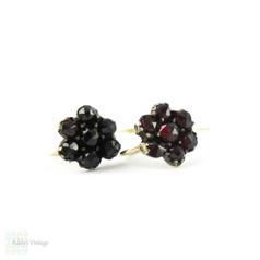 Antique Victorian Garnet Earrings, Pierced Bohemian Floral Design Earrings with 9 ct Gold Ear Wires.