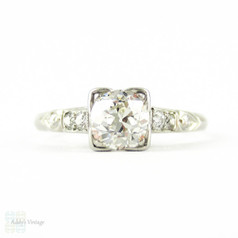 Old Mine Cut Diamond Engagement Ring, 0.61 ct Antique Diamond in Art Deco Square Shape Handmade Platinum Mount.