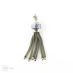 Victorian Sterling Silver & Blue Enamel Tassel Charm. 6 Strand Tassel for Fob with Decorative Enamel Detail, Circa 1890s.