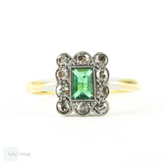 Art Deco Emerald & Diamond Engagement Ring, Rectangle Step Cut Emerald with Diamond Halo. Circa 1910s, 18ct & Plat.