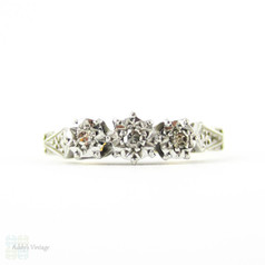 Art Deco Diamond Engagement Ring, Three Stone Diamond Ring in Engraved Setting with Milgrain. 18ct & PLAT, Circa 1930s.