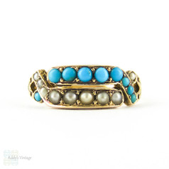 Antique Turquoise Paste & Seed Pearl Double Row Ring, 15ct Gold Victorian Bypass Design Circa 1870s.