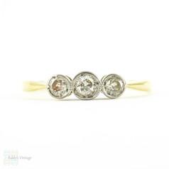 Art Deco Three Stone Diamond Ring, Dainty Vintage Bezel Set Three Stone Engagement Ring. 0.15 ctw in 18ct Gold & Platinum.