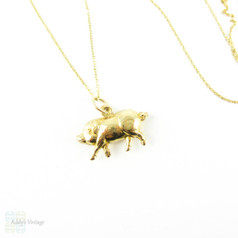 Vintage 9ct Gold Lucky Pig Charm, Small 1960s Retro Pig Pendant on Modern 9k Gold Chain.