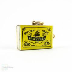 Vintage 9ct Gold & Enamel Matchbox Charm Pendant, Opens to Reveal Matches. 9 Carat Gold, London 1960s.
