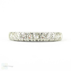 Vintage Diamond Wedding Ring, Platinum 10 Stone Half Hoop Ring with Knife Edge Shank. 0.30 ctw, Circa 1940s.