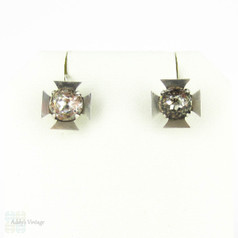 RESERVED. Antique Maltese Cross Earrings, Sterling Silver Paste Drop Earrings, Circa 1880s.