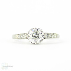 Antique Old European Cut Diamond Engagement Ring, 0.43 ct Edwardian Single Stone Ring in Platinum.