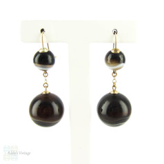 Antique Banded Agate Earrings, Victorian Pierced Double Drop Agate Earrings. 9ct, Circa 1880s.