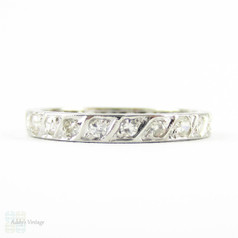 Antique Diamond Wedding Ring. Rope Detail Full Hoop Diamond Eternity Band. Circa 1910s, Platinum. Size M.5 / 6.5.