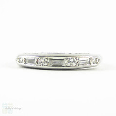 Vintage Baguette & Round Diamond Wedding Ring, Platinum Channel Set Alternating Design Art Deco Wedding Band, Circa 1930s.
