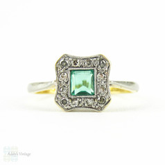 Antique Emerald and Diamond Ring, Edwardian Era Square Cut Emerald with Diamond Halo. 18ct & PLAT, Circa 1900.