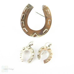 Victorian Horseshoe Earring & Brooch Set, Sterling Silver Demi-Parure. Large Good Luck Horseshoes, Circa 1880s.