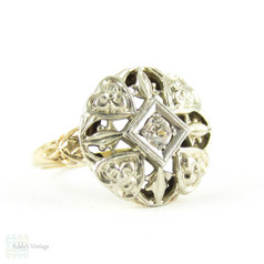 Vintage Filigree Diamond Ring, Old Mine Cut Diamond Set in Flower & Heart Pierced Ring. Two Tone 10K White & Yellow, Circa 1940s.