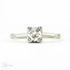 Art Deco Diamond Engagement Ring, Vintage 0.25 ct Transitional Cut Single Stone Ring. Circa 1930s, 14K White Gold.
