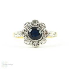 Vintage Sapphire & Diamond Engagement Ring, Art Deco Blue Sapphire & Diamond Daisy Shape Cluster Ring. Circa 1930s, 18ct & Plat.