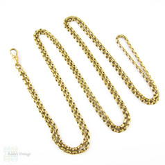 Antique Pinchbeck Long Guard Chain, Heavy Faceted Link Muff Chain Necklace with Dog Clip. 144 cm / 56.7 inches.