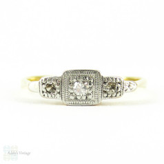 Art Deco Dainty Diamond Ring, Three Stone Ring in Engraved 18ct & Plat Setting. Circa 1930s.