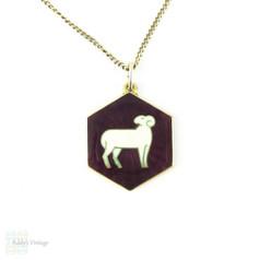 David Andersen Enamel Aries Charm, Vintage Sterling Silver Mid Century Large Purple Vintage Zodiac Ram Symbol Pendant On Chain.