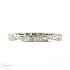Diamond Eternity Ring, Vintage 18ct Full Hoop Diamond Wedding Band. Circa 1930s, Size I / 4.5.