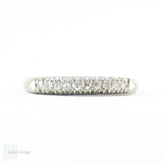Art Deco Diamond Wedding Ring, Platinum 10 Stone Fishtail Setting Half Hoop Ring. 0.12 ctw, Circa 1940s.