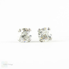 Old European Diamond Stud Earrings. Antique 0.75 ctw Old  Cut Diamonds in Classic 9ct White Gold Mountings.