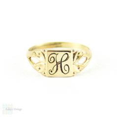 "Antique Baby Signet Ring by Ostby Barton, 10k Yellow Gold ""H"" Childs Signet Ring Circa 1900s."