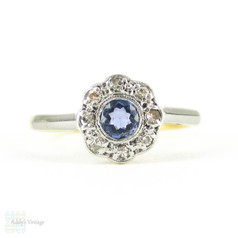 Antique Sapphire & Diamond Flower Ring, Vintage Daisy Shaped Cluster Ring. 18ct & Plat, Circa 1900.