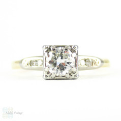 Vintage Diamond Engagement Ring, 0.31 ct Early Round Brilliant Cut Diamond in Two Tone Setting. Circa 1940s, 14K.