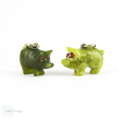 Antique Pig Charms, Pair of Green Jade & Irish Connemara Marble Lucky Pig Charms, Circa 1900.