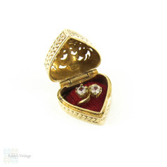 Vintage Heart Ring Box Charm, Opens to Reveal Engagement Ring. Filigree Top & Engraved Sides, Puffed Heart Shape. 9 Carat Yellow Gold, Circa 1960s.