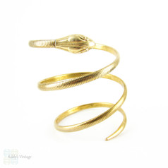 Vintage Forstner Snake Bracelet, Triple Coiled Gold Filled Art Deco Bracelet.