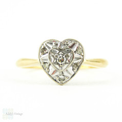 Heart Diamond Engagement Ring, Vintage Art Deco Love Heart Shaped Diamond Ring, 18ct Gold.