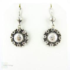 Victorian Sterling Silver Small Drop Earrings, Engraved Floral & Star Design Pierced Dangle Earrings