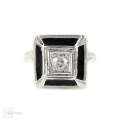 Old Mine Cut Diamond & Black Enamel Ring. Antique Diamond in 18k Engraved Square Setting, Circa 1920s.