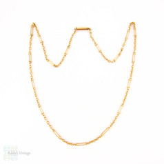 Antique 9 Carat Gold Chain, Fancy Oval & Trace Chain Links. Late Victorian 1880s, 40 cm / 15.75 inches, 4.5 grams.