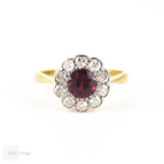 Antique Ruby & Diamond Cluster Ring, Edwardian Daisy Shape Vivid Red Ruby & Old Cut Diamond Ring. 18ct & PLAT.